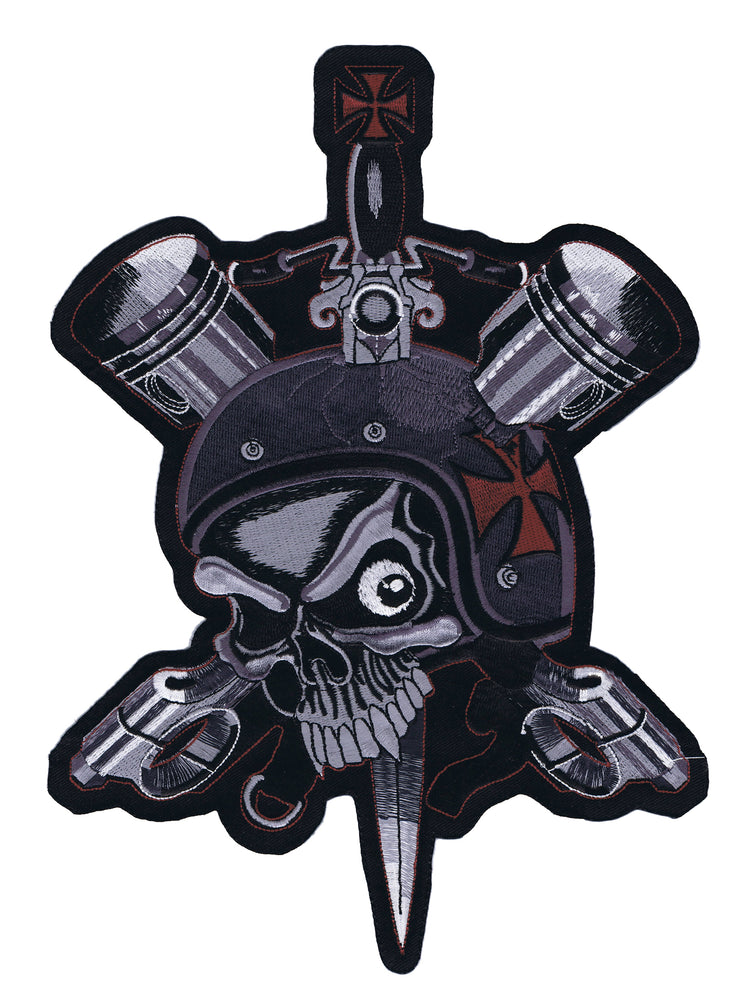 Road Worn Biker Skull Embroidered Patch