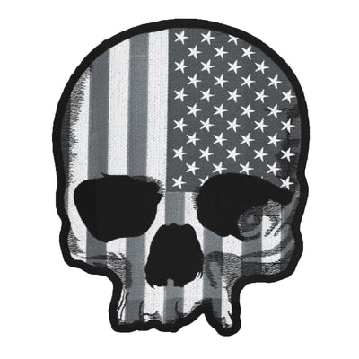 USA Skull Tactical Gray Large Embroidered Patch
