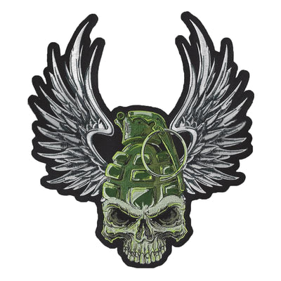 Grenade Wing Skull Embroidered Patch