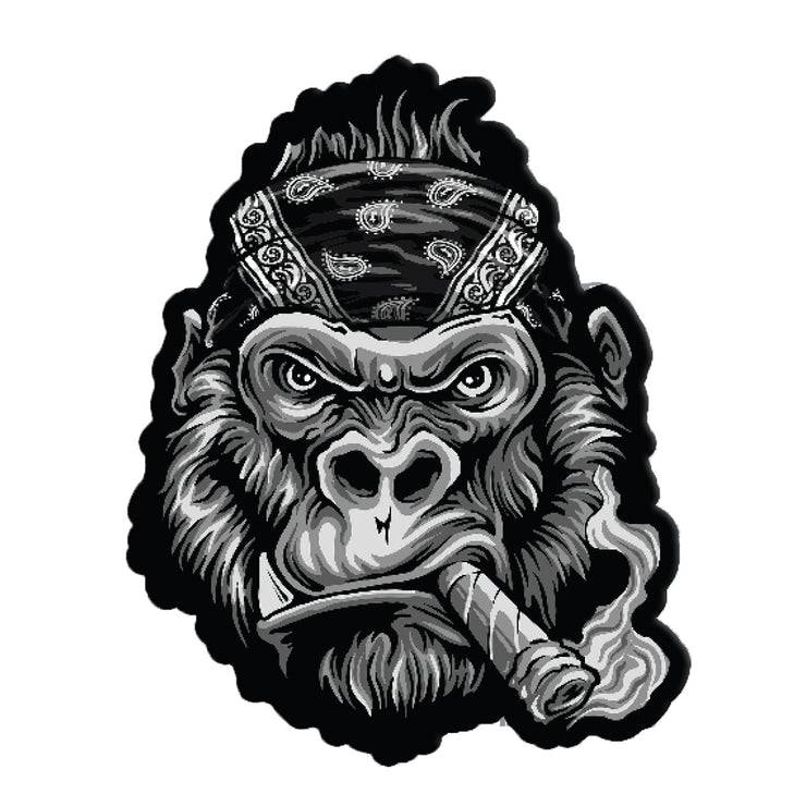 Gorilla Biker Bandana Embroidered Patch