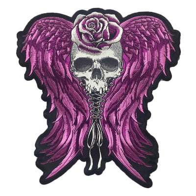 Corset Wing Skull Large Embroidered Patch