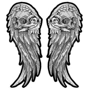 Gray Skull Wing Set Embroidered Patches