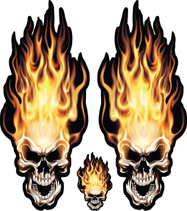 Head On Flame Skull Decal Set