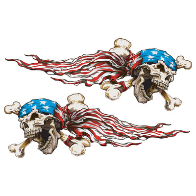 USA Bandana Skulls Left & Right Sticker