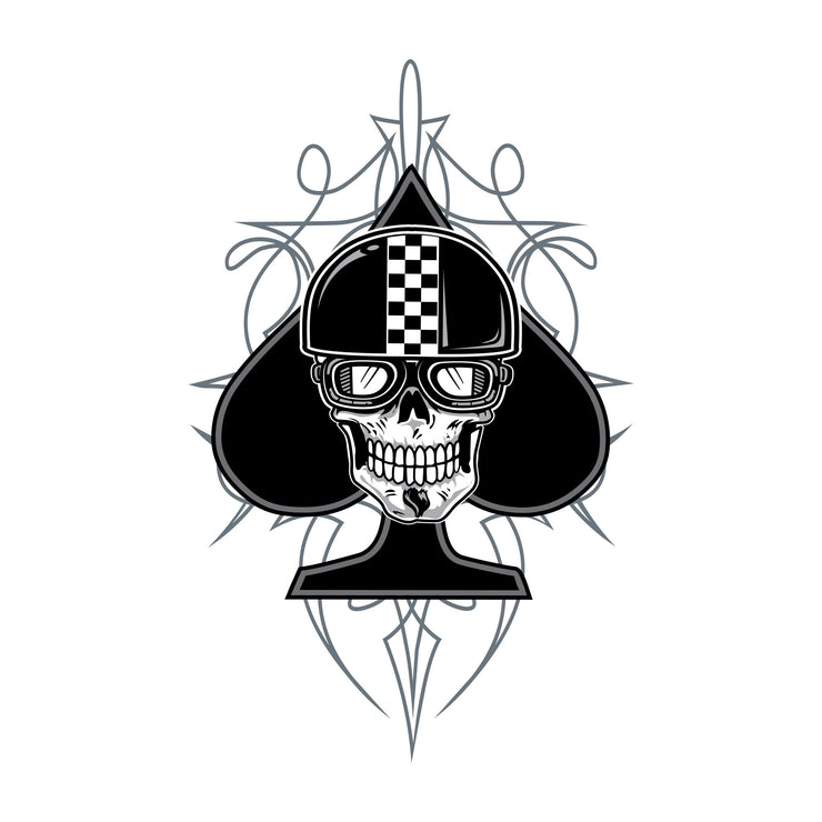 Spade Biker Skull Sticker- Mini Decal