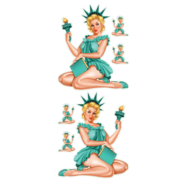 Vintage Statue of Liberty Pin Up Girl Decal Set