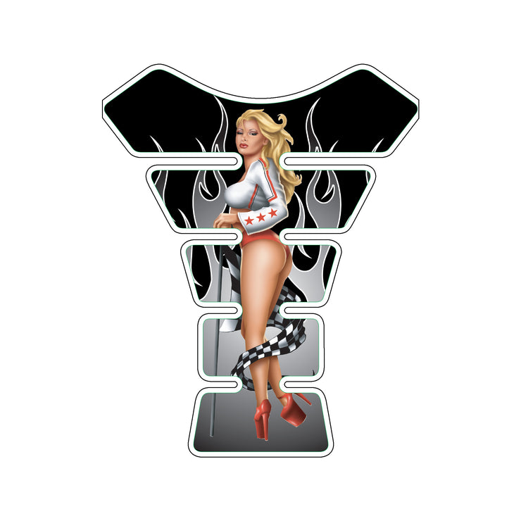 Red Race Babe Pin Up Girl Motorcycle Tank Pad / Motorcycle Tank Protector