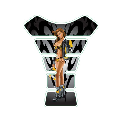 Yellow Race Babe Pin Up Girl Motorcycle Tank Pad / Motorcycle Tank Protector