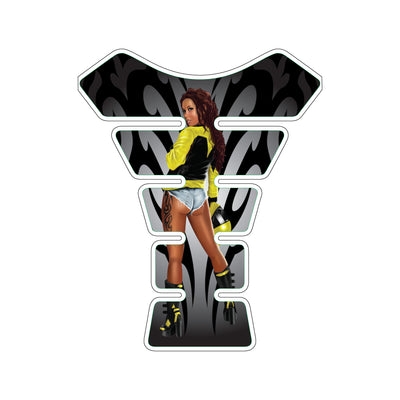 Urban Biker Girl Yellow Motorcycle Tank Pad / Motorcycle Tank Protector