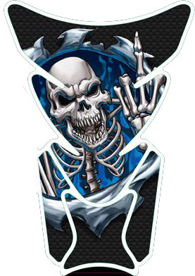 Blue Rip Skull Giving the Finger Motorcycle Tank Pad / Motorcycle Tank Protector