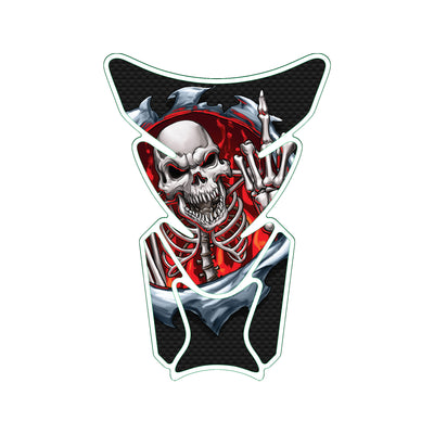 Red Rip Skull Giving the Finger Motorcycle Tank Pad / Motorcycle Tank Protector