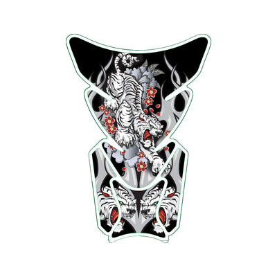 White Tiger Attack Motorcycle Tank Pad / Motorcycle Tank Protector