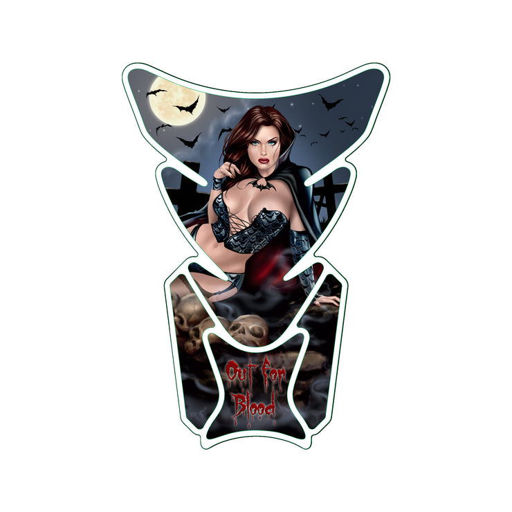 Out For Blood Vampire Pin Up Girl Tank Pad  / Motorcycle Tank Protector