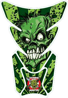 Green Zombie Hunter Motorcycle Tank Pad / Motorcycle Tank Protector