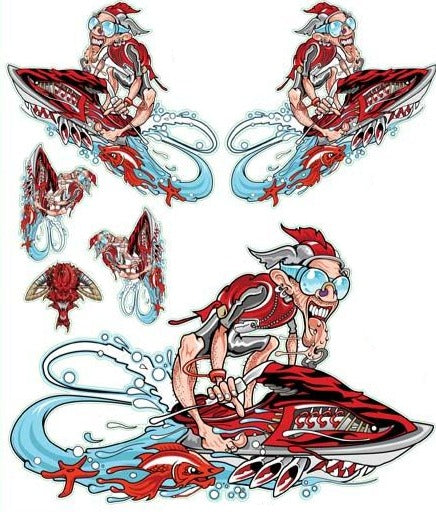 Red Jet skier Decal
