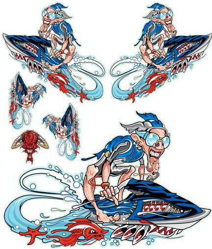 Blue Jet Skier Decal
