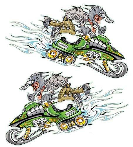 Green Snow Mobile Decal