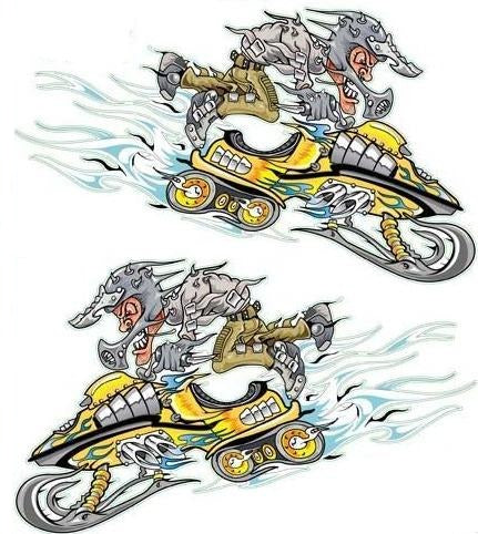 Yellow Snow Mobile Decal