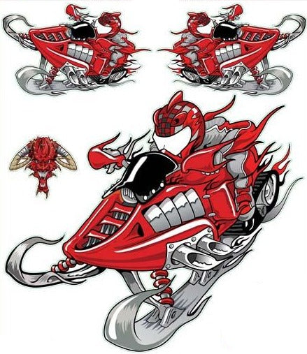Red Fire Snow Mobile Decal