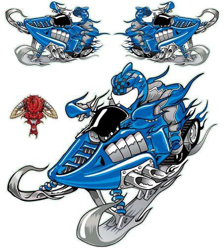 Blue Snowmobile Decal