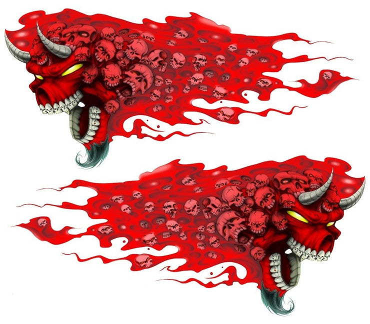 Flaming Red Devil Skull Decal Set