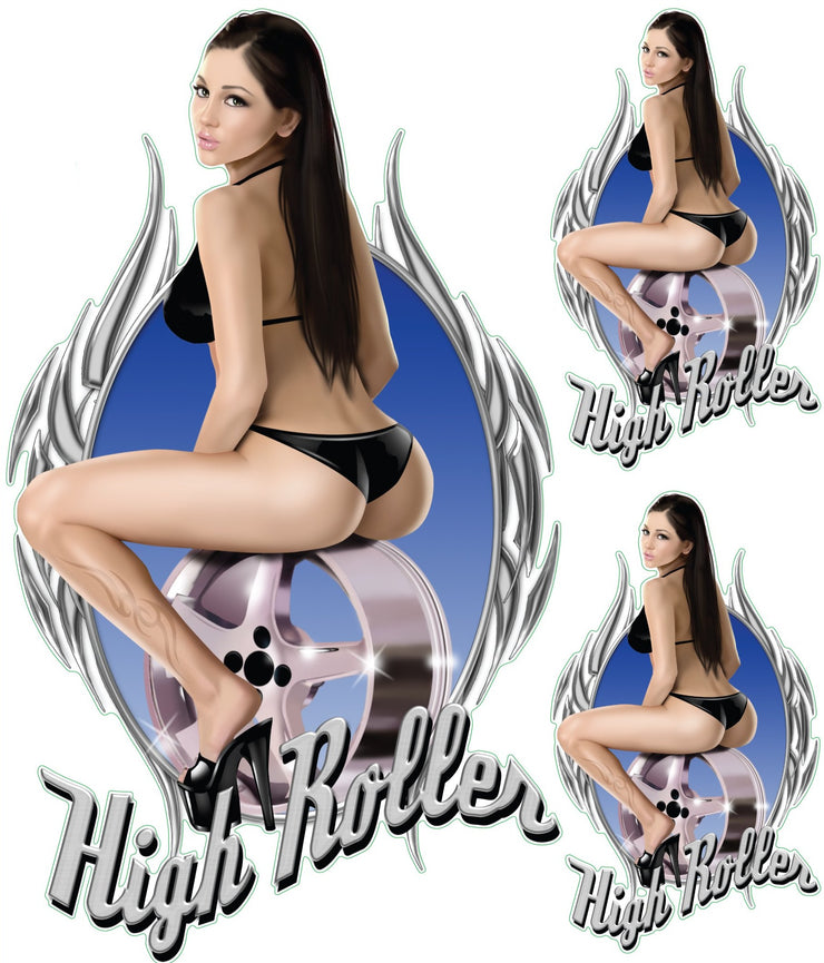High Roller Pin Up Girl Decal