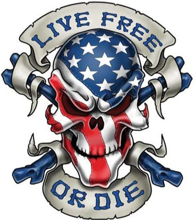 Live Free or Die USA Skull Larger Decal