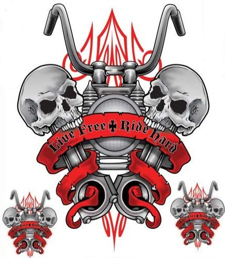 Live Free Ride Hard Motorcycle Skull Decal