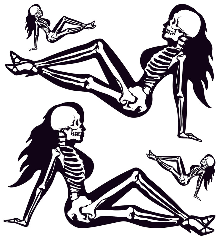 Skeleton Mud Flap Girl / Trucker Girl Decal