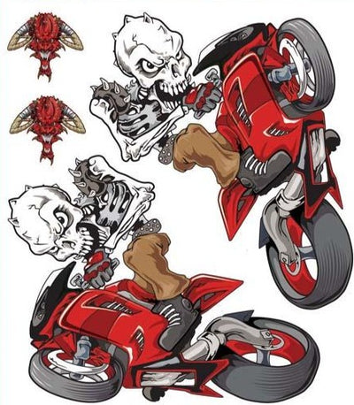 Wheelie Skull Set Red