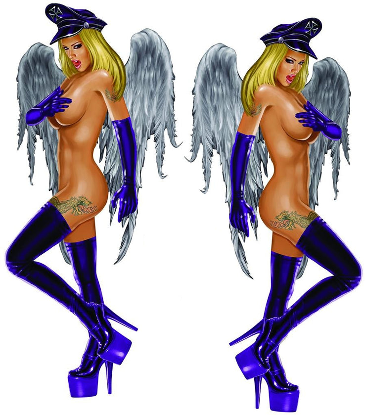 Winged Biker Babe Decal