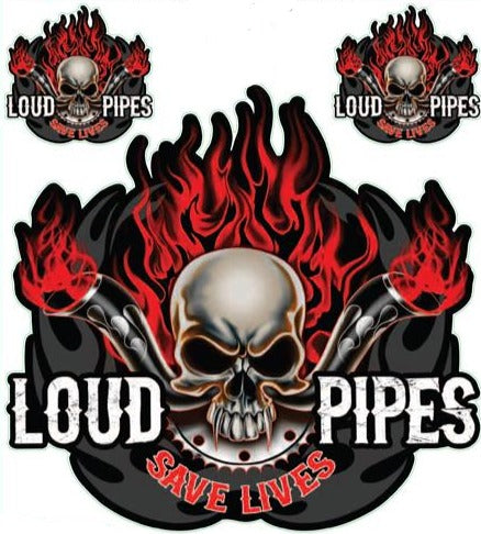 Loud Pipes Save Lives Skull Decal