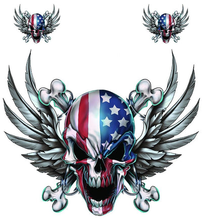 USA Skull with Wings Decal