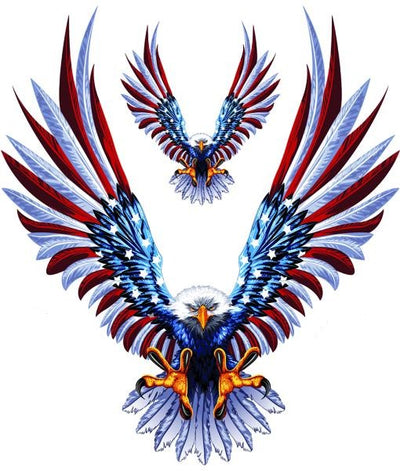 USA Flag Feathers Eagle Attack Decal
