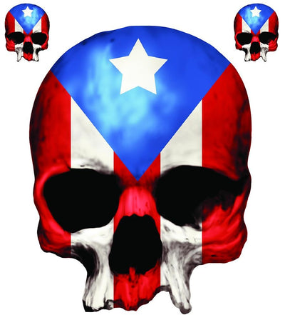 Puerto Rico Skull Decal