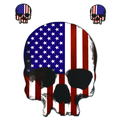 U.S.A. Skull Chrome Decal
