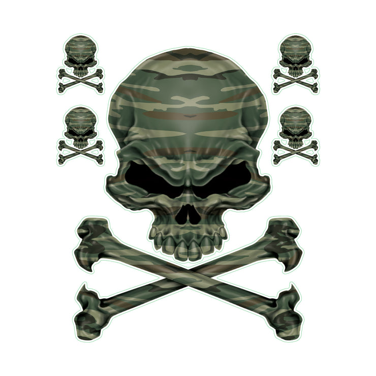 Green Army Camo Skull Decal