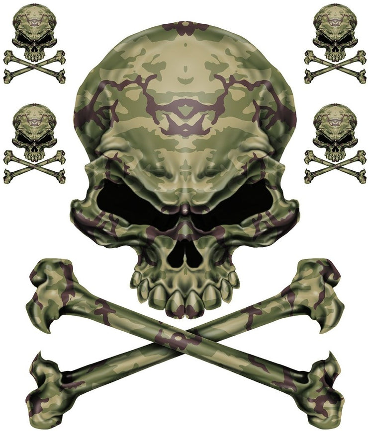 Army Green Camo Skull Decal