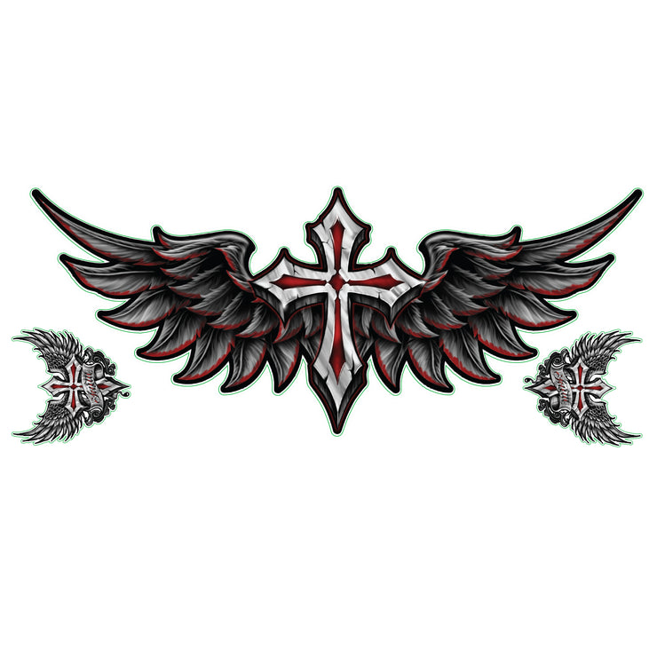 Winged Cross Decal