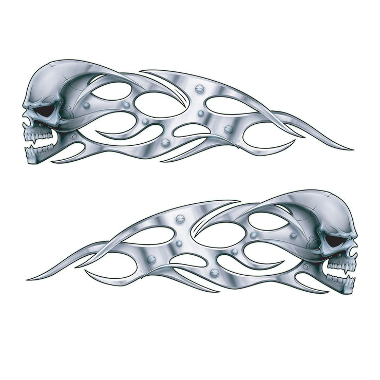 Chrome Skulls Left & Right Facing Decals