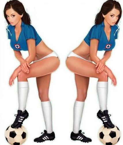 Soccer Pin Up Girl Blue Team Decal