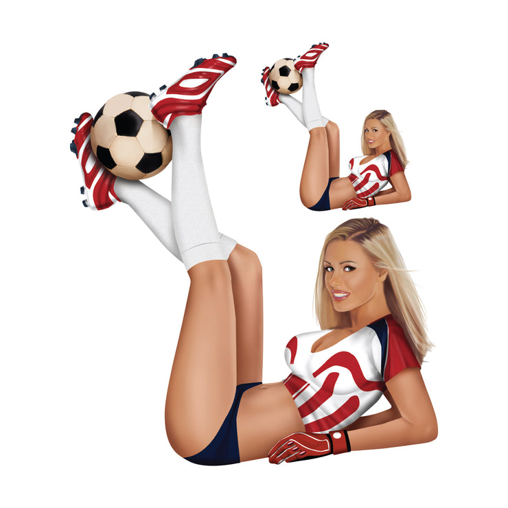 Soccer Girl Red Decal