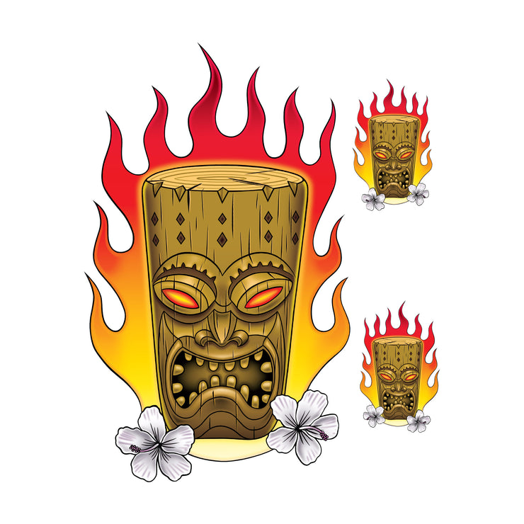 Flaming Tiki Decal