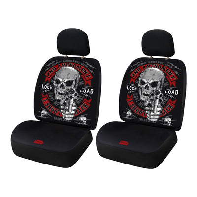 I Shoot Back Skull Automotive 2 Pack Seat Cover Set