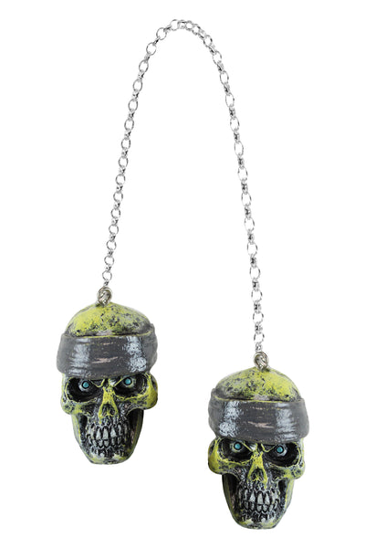 3D Rearview Bandana Skull Mirror Danglers