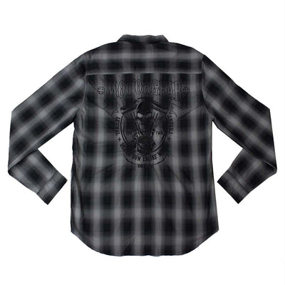 Motor Death Grey Plaid Button Down