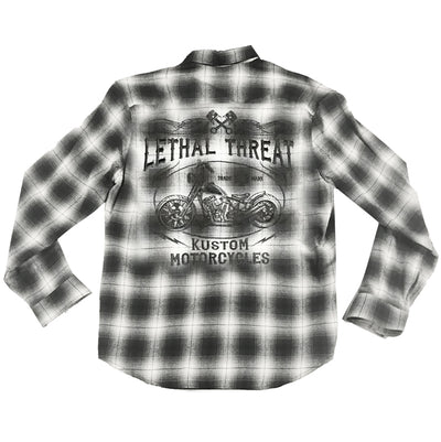 Kustom Motorcycle Plaid  Button Down Shirt