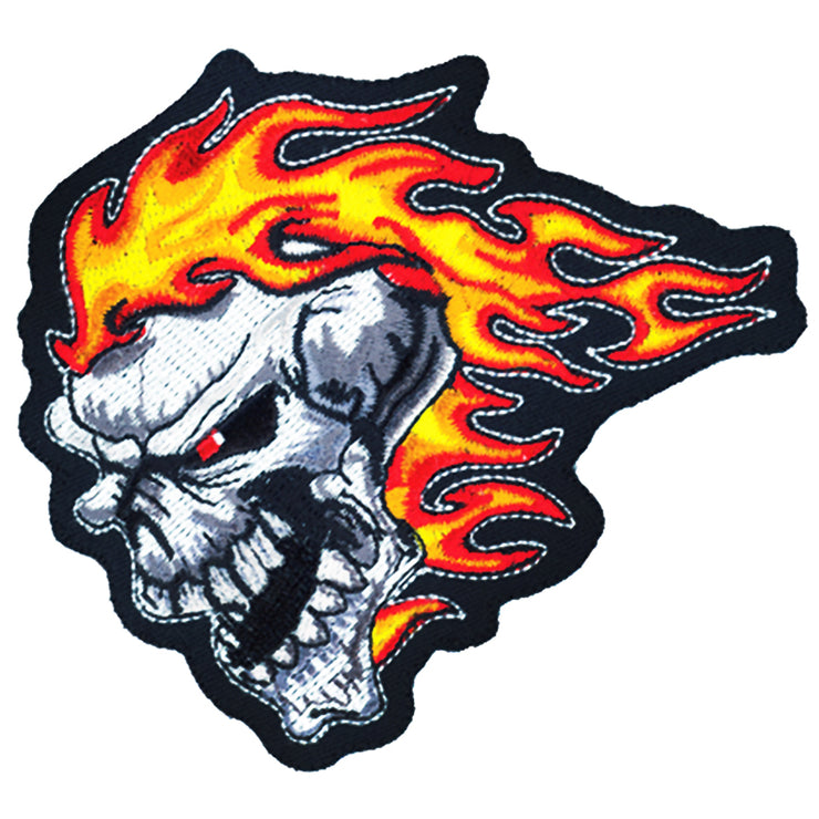 Flames Skull Head Patch