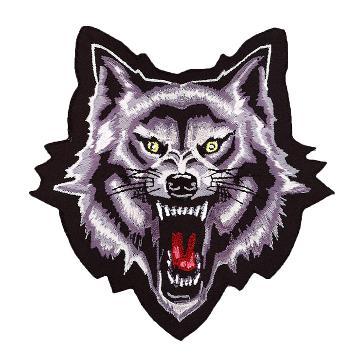 Wolf Head Mini Embroidered Patch