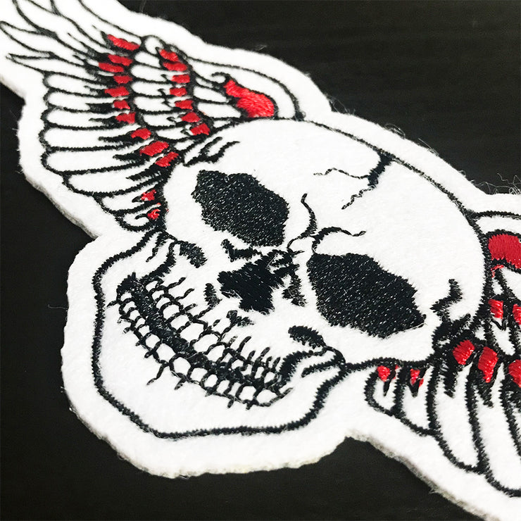 Orange Wing Skull Vintage Patch